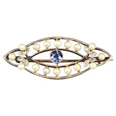 Sapphire Diamond Seed Pearl 15k Gold & Platinum Brooch Pin Antique Victorian c1890