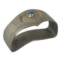 Osiris Pewter Enamel Napkin Ring Arts & Crafts Antique c1880
