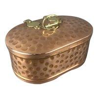 Copper Brass Trinket Box Arts & Crafts Victorian Antique c1880