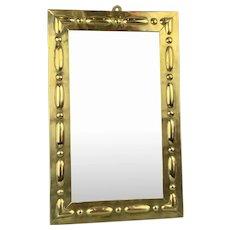 Rectangular Brass Wall Mirror Antique  Victorian Arts And Craft c1890
