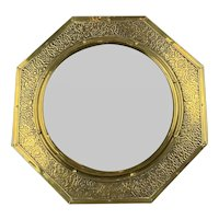Octagonal Brass Wall Mirror Antique Victorian Arts And Craft c1890