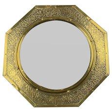 Octagonal Brass Wall Mirror Antique Victorian Arts And Craft c1890