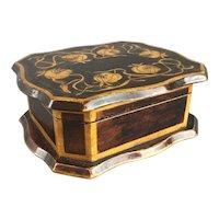 Penwork Wood Trinket Box Antique Art Nouveau c1890