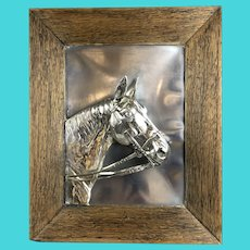 Silver Plate Framed Horse Head Antique Victorian c1900