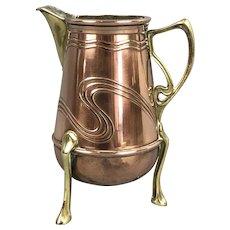 Secessionist Arts & Crafts Copper Brass 3 Leg Jug Victorian Antique c1890