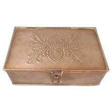 Copper Hinged Lid Box Antique Arts And Crafts c1900