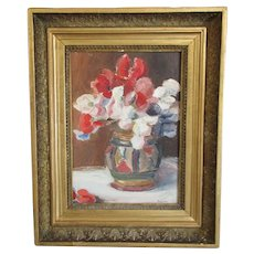 Continental Oil on Board Flowers Still Life Painting by F. Hahlen Vintage c1948