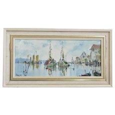 Framed Oil on Board Moored Boats by G Deakin Vintage c1989