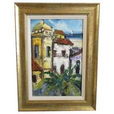 Brazilian Oil on Canvas Painting of Misericordia Church Contemporary