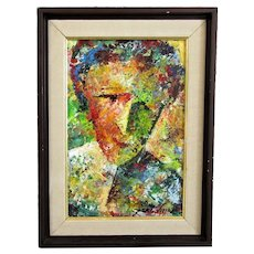 Brazilian Oil on Board Portrait Painting by Isac Vieira Contemporary c2011
