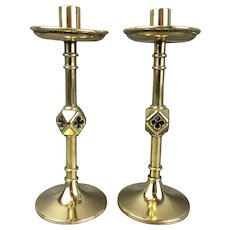 Brass Pair Of Gothic Revival Candlesticks Victorian Antique c1880