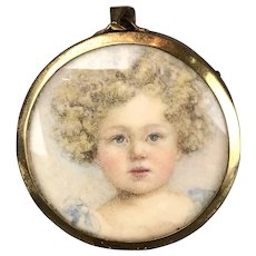 Watercolour Painting Miniature Portrait Of Curly Haired Child Antique Victorian c1880