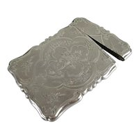 Sterling Silver Engraved Calling Card Case by G Wheeler & Co Antique c1857