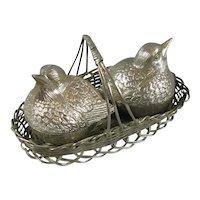 Silver Plated 'Chicks in Basket' Cruet Set Vintage c1970
