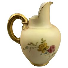 Small Porcelain Royal Worcester Blush Flat Back Jug Antique Victorian c1880