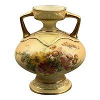 Small Porcelain Royal Worcester Blush Amphora Vase Antique Victorian c1890