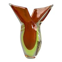 Murano Sommerso Two Tone Tear Glass Drop Vase Vintage c1970