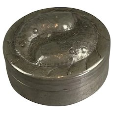 Pewter Arts & Crafts Trinket Or Pill Box Antique Victorian c1890