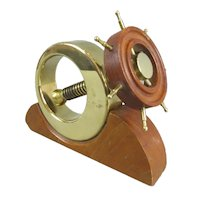 Brass & Teak Ships Wheel Nut Cracker Vintage c1950
