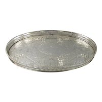 Silver Plate Oval Gallery Tray Antique Victorian c1900