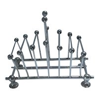 Aesthetic Movement Silver Plate 7 Bar Toast Rack Christopher Dresser Style Antique c1910