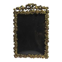 Roses & Bow Cast Brass Photo Picture Frame Antique Victorian c1890