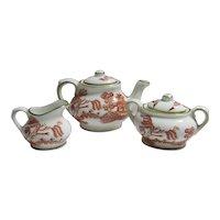 Miniature Coalport Tea Pot Sugar & Cream Willow Pattern Vintage c1980