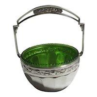 Secessionist Movement Green Glass Bowl Silver Plate Basket Antique Victorian c1900