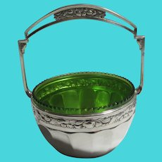 Secessionist Movement Green Glass Bowl Silver Plate Basket Antique Victorian c1900