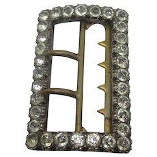 Diamond Paste White Metal Belt Buckle Antique Victorian c1890