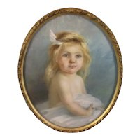 Framed Pastel Portrait of a Child by Alfred Hitchen Antique c1905