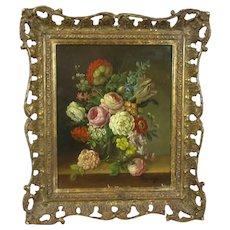 Smaller Oil on Board Still Life of Flowers Antique 19th Century
