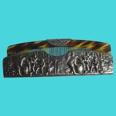 High Relief Silver Plate Case Faux Tortoiseshell Comb Vintage Art Deco c1920