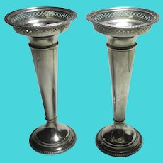Pair of Bud Flower Vases Sterling Silver Antique Edwardian English 1913