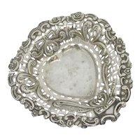 Heart Shape Sterling Silver Bon Bon Dish Antique Victorian English 1895