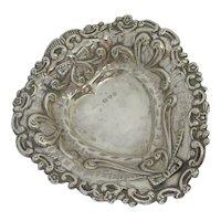 Heart Shape Bon Bon Sterling Silver Dish Antique Chester 1897 Victorian