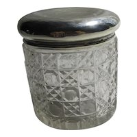 Sterling Silver Top Hobnail Cut Glass Cream Pot Antique Victorian English 1892 by Walker & Hall