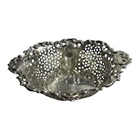 Heart & Star Detailing Sterling Silver Bon Bon Dish Antique Victorian 1899 by William Hutton