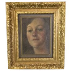 English Gilt Framed Oil on Board Portrait Painting Vintage c1982