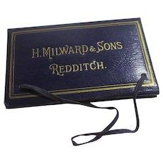 H Milward & Sons Redditch Leather Needle Case Antique Edwardian c1910