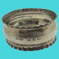 Napkin Ring Sterling Silver Tableware Antique Victorian English 1899 by Miller Brothers