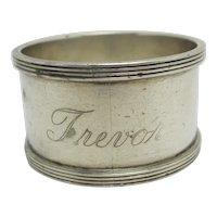 'Trevor' Sterling Silver Napkin Ring Tableware Vintage English 1926 Art Deco