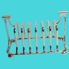 Silver Plate Toast Rack or Letter Rack Antique Art Nouveau