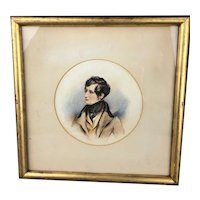 Framed Round Watercolour Portrait Of A Young Dandy Georgian Antique c1780