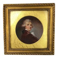 Framed Oil On Canvas Round Portrait of a Gentleman By Maud Whitmore Antique Victorian c1896