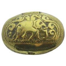 Elephant Top Brass Snuff Box Antique Victorian c1880