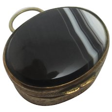 Banded Agate Pill Box Pendant Antique Victorian c1890