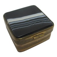 Banded Agate Gilt Metal Pill Box Antique Victorian c1890