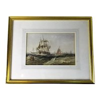 Framed Watercolour Painting Shipping off Harwich Alfred Herbert c1844-1861
