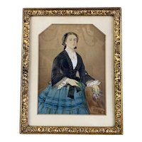 Watercolour On Canvas Portrait Of A Young Lady Antique Victorian c1890